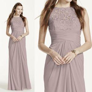 David's Bridal long mesh dress w/corded lace